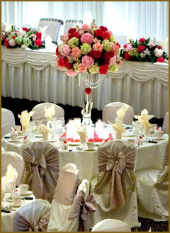 Wedding reception with elegant floral display